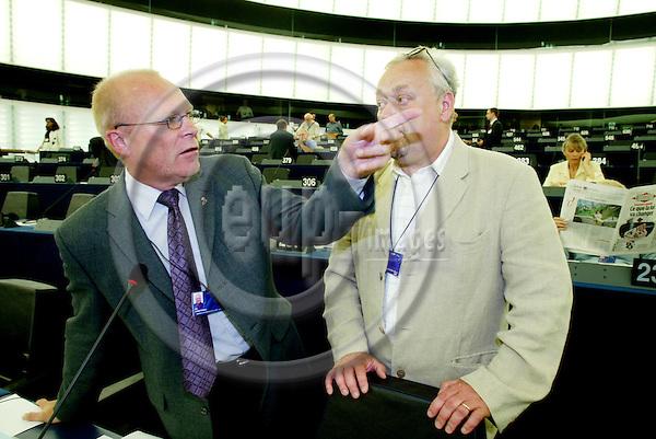 STRASBOURG - FRANCE  -20 JULY 2004--Mr. Ole CHRISTENSEN, Danish MEP for the PES Group, with former MEP and spokesman John IVERSEN.--PHOTO: ERIK LUNTANG / EUP-IMAGES