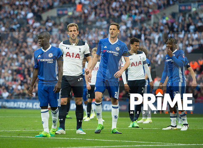 Chelsea's N'Golo Kante; Tottenham's Harry Kane  and Chelsea's Nemanja Matic  during the FA Cup Semi Final match between Chelsea and Tottenham Hotspur at Wembley Stadium, London, England on 22 April 2017. Photo by Andrew Aleksiejczuk / PRiME Media Images.