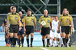 29 August 2014: Match officials. From left: Assistant Referee Jude Carr, Fourth Official Dan Meyer, Referee Brent Sorg, and Assistant Referee Charlie Lester. The University of North Carolina Tar Heels hosted the University of California Bears at Fetzer Field in Chapel Hill, NC in a 2014 NCAA Division I Men's Soccer match. North Carolina won the game 3-1.