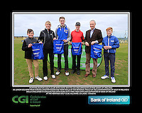 Portarlington Golf Club boys With Kate Wright CGI and Brendan Byrne Bank of Ireland.<br /> Junior golfers from across Leinster practicing their skills at the regional finals of the Dubai Duty Free Irish Open Skills Challenge supported by Bank of Ireland at the Heritage Golf Club, Killinard, Co Laois. 2/04/2016.<br /> Picture: Golffile | Fran Caffrey<br /> <br /> <br /> All photo usage must carry mandatory copyright credit (© Golffile | Fran Caffrey)