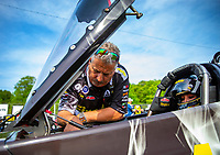 May 4, 2018; Commerce, GA, USA; Joe Barlam crew chief for NHRA top fuel driver Leah Pritchett during qualifying for the Southern Nationals at Atlanta Dragway. Mandatory Credit: Mark J. Rebilas-USA TODAY Sports