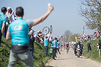 Peloton hits pav&eacute; sector 27: Qui&eacute;vy to Saint-Python<br /> <br /> 115th Paris-Roubaix 2017 (1.UWT)<br /> One day race: Compi&egrave;gne &gt; Roubaix (257km)