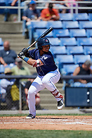 Binghamton Rumble Ponies right fielder Jhoan Urena (24) at bat during a game against the Altoona Curve on June 14, 2018 at NYSEG Stadium in Binghamton, New York.  Altoona defeated Binghamton 9-2.  (Mike Janes/Four Seam Images)