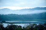 View over Jungle Canopy & Gatun Lake, Misty Clouds, Panama, Central America, Gamboa Reserve, Parque Nacional Soberania