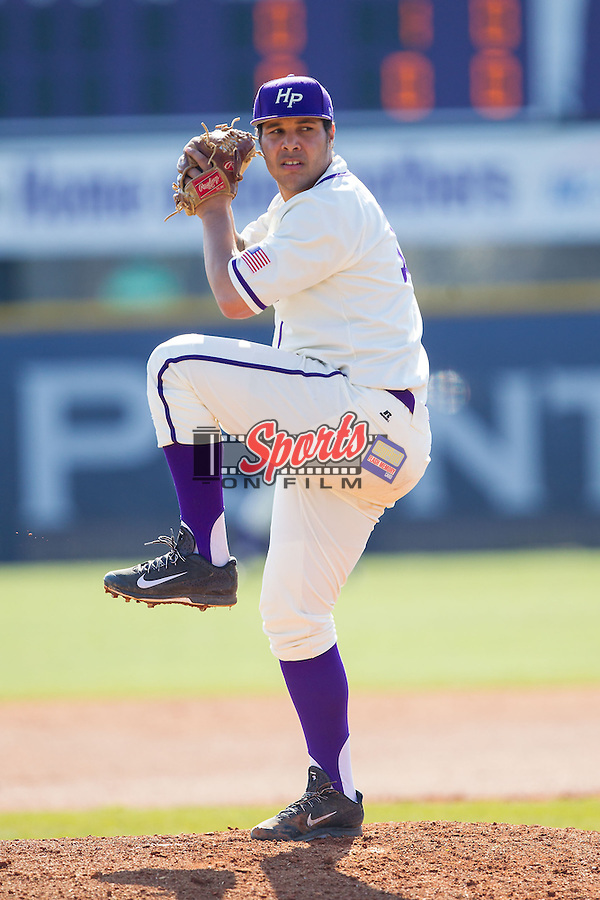 High Point Panthers starting pitcher Andre Scrubb (16) in action against the Bowling Green Falcons at Willard Stadium on March 9, 2014 in High Point, North Carolina.  The Falcons defeated the Panthers 7-4.  (Brian Westerholt/Sports On Film)