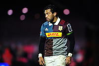 Alofa Alofa of Harlequins looks on during a break in play. Anglo-Welsh Cup match, between Harlequins and Sale Sharks on February 3, 2017 at the Twickenham Stoop in London, England. Photo by: Patrick Khachfe / JMP