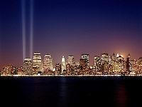 New York City.Twin columns of light were set up in early 2002 to mark the place of the destroyed World Trade Center, as seen in this night view of lower Manhatta
