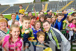 Lucy Breen (Beaufort) Jack McGrath (Cromane Lower) John Duggan(Tralee) and Emma Hurley (Killorglin) with Daithi Casey at Kerry GAA family day at Fitzgerald Stadium on Saturday.