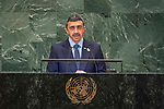 General Assembly Seventy-third session, 14th plenary meeting<br /> <br /> <br /> United Arab Emirates<br /> H.H. Sheikh Abdullah Bin Zayed Al Nahyan<br /> Minister for Foreign Affairs and International Cooperation