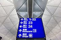 Airport directions sign, Hong Kong International Airport, Hong, Kong, Special Administrative Region of China..Xianggang, Chineese for Hong Kong.