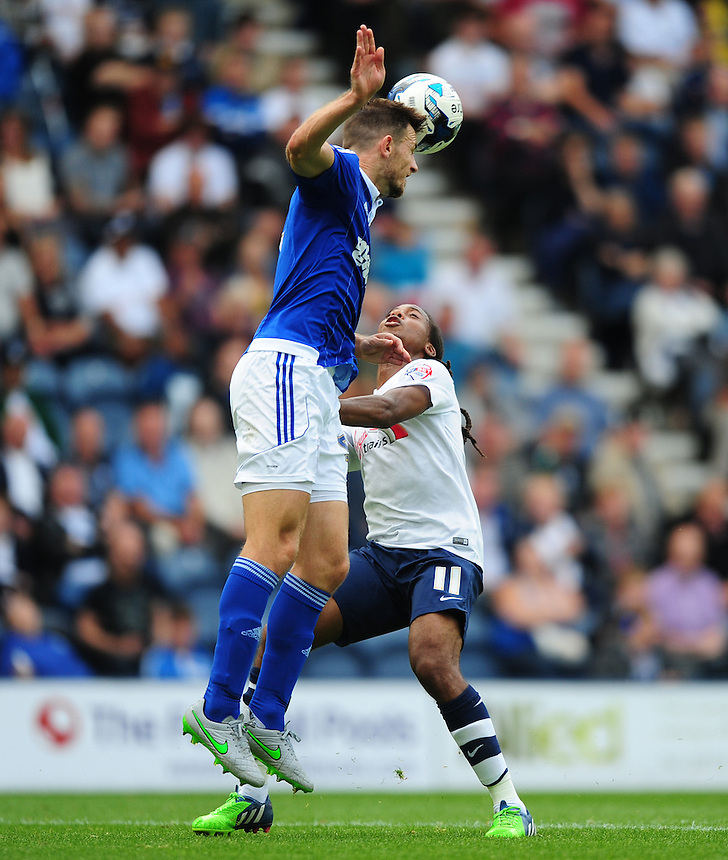 Preston North End's Daniel Johnson vies for possession with Ipswich Town's Tommy Smith<br /> <br /> Photographer Chris Vaughan/CameraSport<br /> <br /> Football - The Football League Sky Bet Championship - Preston North End v Ipswich Town - Saturday 22nd August 2015 - Deepdale - Preston<br /> <br /> &copy; CameraSport - 43 Linden Ave. Countesthorpe. Leicester. England. LE8 5PG - Tel: +44 (0) 116 277 4147 - admin@camerasport.com - www.camerasport.com