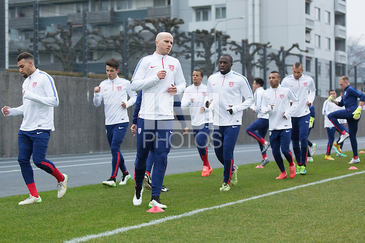 Zürich, Switzerland - Sunday, March 22, 2015: The USMNT Train in preparation for their friendly match versus Switzerland at Stadion Letzigrund.