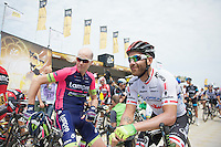 Christopher Horner (USA/Lampre-Merida) &amp; Svein Tuft (CAN/Orica-GreenEDGE) at the start<br /> <br /> 2014 Tour de France<br /> stage 4: Le Touquet-Paris-Plage/Lille M&eacute;tropole (163km)