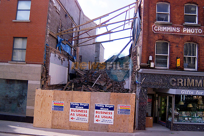 Paddy Dwyers Shop in Shop Street Demolished...Pic Tony Campbell/Newsfile