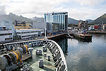 Hurtigruten ferry ship arriving at Svolvaer, Lofoten Islands, Nordland, Norway
