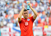 07.06.2014. Florida, USA.  England Forward Rickie Lambert (18) applauds the fans after an international friendly world cup warm up soccer match between England and Honduras at the Sun Life Stadium in Miami Gardens, Florida.