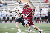 Towson, MD - May 6, 2017: UMASS Minutemen Dom St. Laurent (39) runs with the ball during game between Towson and UMASS at  Minnegan Field at Johnny Unitas Stadium  in Towson, MD. May 6, 2017.  (Photo by Elliott Brown/Media Images International)