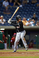 Jupiter Hammerheads third baseman Brian Anderson (9) at bat during the second game of a doubleheader against the Clearwater Threshers on July 25, 2015 at Bright House Field in Clearwater, Florida.  Clearwater defeated Jupiter 2-1.  (Mike Janes/Four Seam Images)