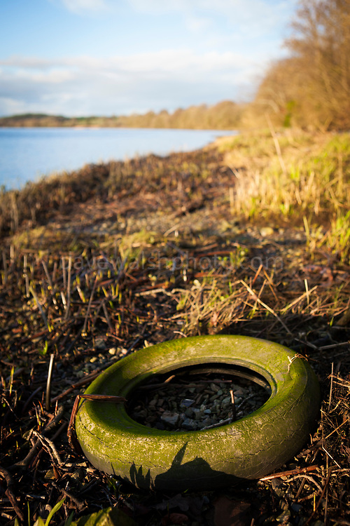 Abandoned tyre washed up on shores of Slaney river, Wexford