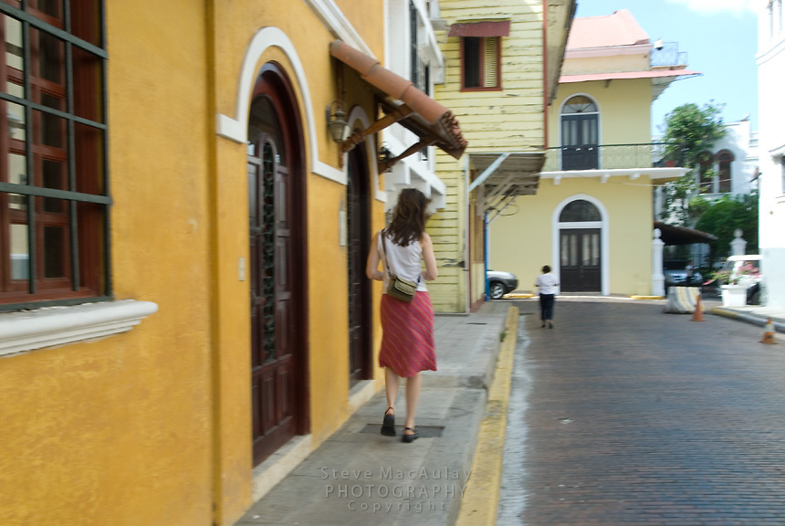 Female tourist strolling through Casco Viejo, Panama