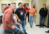 NWA Democrat-Gazette/CHARLIE KAIJO Students take a break from practicing medical emergency scenarios to listen to EMS Clinical Coordinator, Grant Wilson, on Thursday, October 12, 2017 at Northwest Arkansas Community College in Bentonville.  NWACC is working to increase its enrollment in paramedic studies to help meet the increasing need for paramedics in the region.