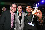 Arthur Mandel, Avi Oster, and Ne-Yo pose on stage at the 360 Induced Executive Mixer, hosted by Ne-Yo at Millesime NYC, January 19, 2011.