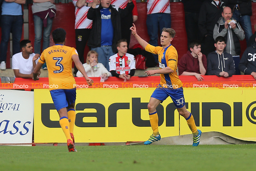 Danny Rose of Mansfield Town scores the first goal for his team and celebrates during Stevenage vs Mansfield Town, Sky Bet EFL League 2 Football at the Lamex Stadium on 22nd April 2017