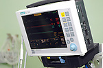 Heart rate monitor prepared for patient connection (note saturation probe only connected). Royalty Free