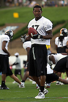 Mike Wallace, Pittsburgh Steeler wide receiver. Training camp, August 11, 2011 at Latrobe, Pennsylvania.