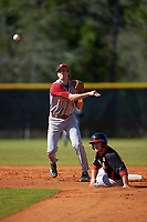 Indiana Hoosiers shortstop Brian Whilhite (11) throws to first base as Joe Kelch (3) slides in during a game against the Illinois State Redbirds on March 4, 2016 at North Charlotte Regional Park in Port Charlotte, Florida.  Indiana defeated Illinois State 14-1.  (Mike Janes/Four Seam Images)