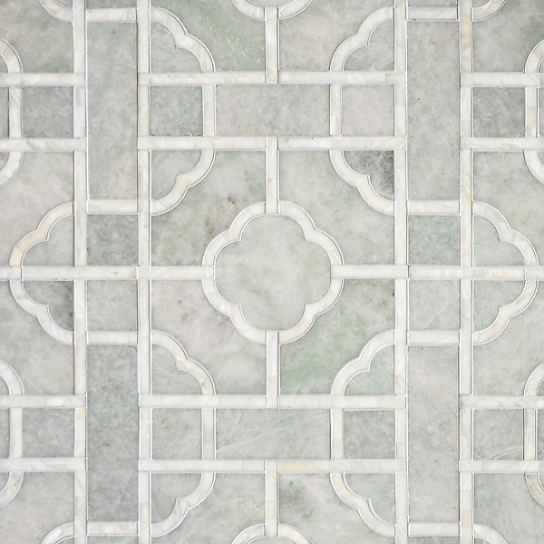 Custom Royal Palace, a waterjet  stone mosaic, shown in honed Ming Green and Shell, is part of the Altimetry® collection designed by Paul Schatz for New Ravenna.