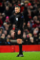 Referee Damir Skomina looks on <br /> <br /> Photographer Richard Martin-Roberts/CameraSport<br /> <br /> UEFA Champions League Group C - Liverpool v Napoli - Tuesday 11th December 2018 - Anfield - Liverpool<br />  <br /> World Copyright © 2018 CameraSport. All rights reserved. 43 Linden Ave. Countesthorpe. Leicester. England. LE8 5PG - Tel: +44 (0) 116 277 4147 - admin@camerasport.com - www.camerasport.com
