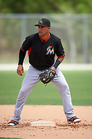 Miami Marlins Rony Cabrera (60) during practice before a minor league Spring Training intrasquad game on March 31, 2016 at Roger Dean Sports Complex in Jupiter, Florida.  (Mike Janes/Four Seam Images)