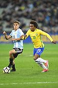 June 9th 2017, Melbourne Cricket Ground, Melbourne, Australia; International Football Friendly; Brazil versus Argentina; Paul Exequiel Dybala of Argentina and Willian Silva of Brazil challenge for the ball