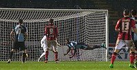 Aaron Pierre of Wycombe Wanderers heads across the Wycombe goal during the Sky Bet League 2 match between Wycombe Wanderers and Morecambe at Adams Park, High Wycombe, England on 2 January 2016. Photo by Andy Rowland / PRiME Media Images