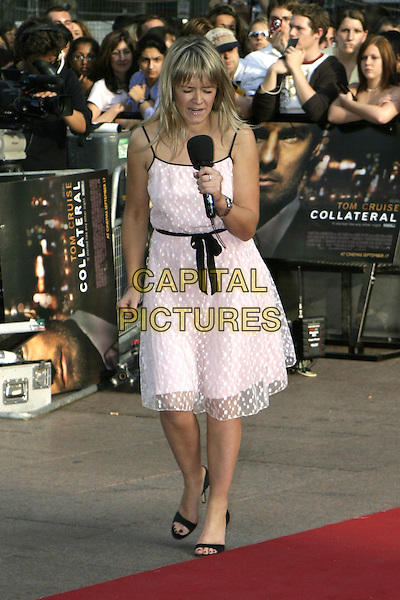 EDITH BOWMAN.Collateral UK premiere, UCI Empire, Leicester Square, London, 2nd September 2004..full length pink babydoll dress black ribbon belt bow polka dot.Ref: AH.www.capitalpictures.com.sales@capitalpictures.com.©Capital Pictures.
