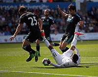 Matrin Olsson of Swansea City tumbles over after challenged by Craig Dawson (L) and Claudio Yacob of West Bromwich Albion (R) during the Premier League match between Swansea City and West Bromwich Albion at The Liberty Stadium, Swansea, Wales, UK. Sunday 21 May 2017