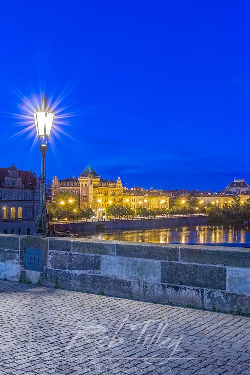 Europe, Czech Republic, Bohemia, Prague, Charles Bridge at Dawn