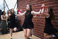 NWA Democrat-Gazette/CHARLIE KAIJO Dancers Kristin Campbell 13 (from left), Eden Snyder 14, Audra Graves 15 and Lucy Mae Rousseau 13 (not pictured) perform, Saturday, March 17, 2018 at The Forge in Bentonville. <br />
