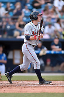 Rome Braves left fielder Stephen Gaylor (34) swings at a pitch during a game against the Asheville Tourists on May 15, 2015 in Asheville, North Carolina. The Braves defeated the Tourists 6-0. (Tony Farlow/Four Seam Images)
