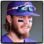 Right fielder Seth Beer (28) of the Clemson Tigers watches his teammates line up for the National Anthem before the Reedy River Rivalry game against the South Carolina Gamecocks on Saturday, March 3, 2018, at Fluor Field at the West End in Greenville, South Carolina. Clemson won, 5-1. (Tom Priddy/Four Seam Images)
