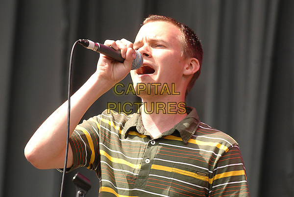 JACK ALLSOPP - JUST JACK.Performing live at the V Festival at Hylands Park, Chelmsford, England..August 18, 2007 .half length stage concert live gig performance music gig singing green yellow striped stripes top .CAP/BEL.©Belcher/Capital Pictures