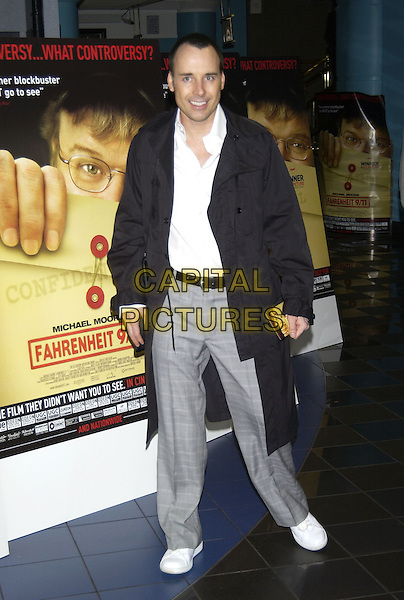 DAVID FURNISH.At the celebrity and film industry screening of Farenheit 9/11 hosted by Harvey Weinstein, Vue Cinema, Leicester Square, London,.28th June 2004..full length white trainers.Ref: PL.www.capitalpictures.com.sales@capitalpictures.com.©Capital Pictures