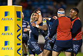 29th September 2017, AJ Bell Stadium, Salford, England; Aviva Premiership Rugby, Sale Sharks versus Gloucester; Sale Sharks' Denny Solomona celebrates scoring a try