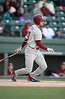 Right fielder Andrew Eyster (11) of the South Carolina Gamecocks bats in a game against the Furman Paladins on Tuesday, March 19, 2019, at Fluor Field at the West End in Greenville, South Carolina. South Carolina won, 12-7. (Tom Priddy/Four Seam Images)