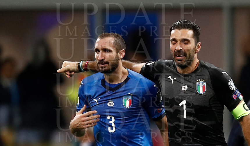 Soccer Football - 2018 World Cup Qualifications - Europe - Italy vs Sweden - San Siro, Milan, Italy - November 13, 2017 <br /> Italy's Captain Gianluigi Buffon (r) and Giorgio Chiellini (l) look dejected at the end of the FIFA World Cup 2018 qualification football match between Italy and Sweden at the San Siro stadium in Milan, on November 13, 2017. <br /> Italy failed to reach the World Cup for the first time since 1958.<br /> UPDATE IMAGES PRESS/Isabella Bonotto