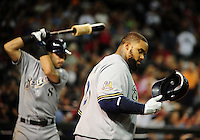 May 7, 2010; Phoenix, AZ, USA; Milwaukee Brewers first baseman Prince Fielder (right) and outfielder Ryan Braun against the Arizona Diamondbacks at Chase Field. The Brewers defeated the Diamondbacks 3-2. Mandatory Credit: Mark J. Rebilas-