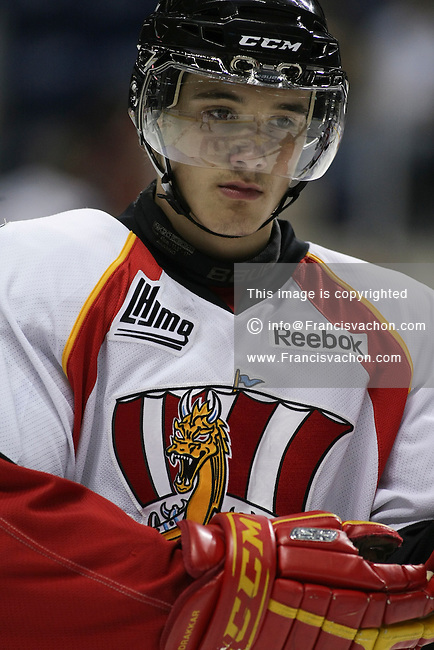 QMJHL (LHJMQ) hockey profile photo on Baie-Comeau Drakkar Verpaelst Gabriel October 8, 2011 at the Colisee Pepsi in Quebec city.