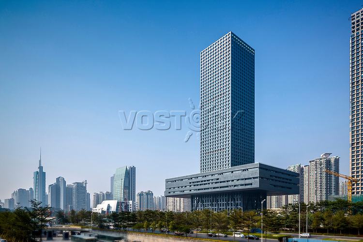 Exterior view of the Shenzhen Stock Exhchange, Shenzhen, Guangdong, China.