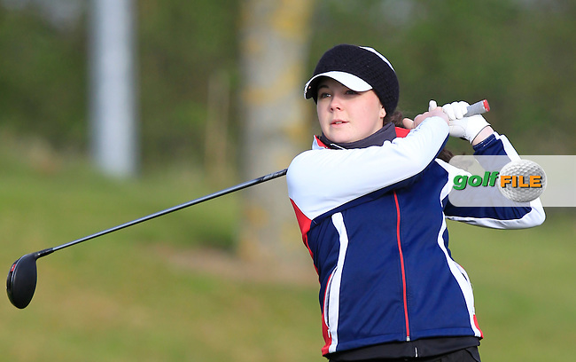 Martha Lewis (ENG) on the 1st tee during Round 3 of the Irish Girl's Open Stroke Play Championship at Roganstown Golf &amp; Country Club on Sunday 17th April 2016.<br /> Picture:  Thos Caffrey / www.golffile.ie